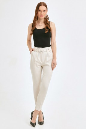 Fulla Moda Kemerli Pileli Kumaş Pantolon