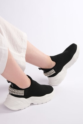Marjin Kadın Siyah Sneaker Dolgu Topuk Çorap Spor Ayakkabı Dizva