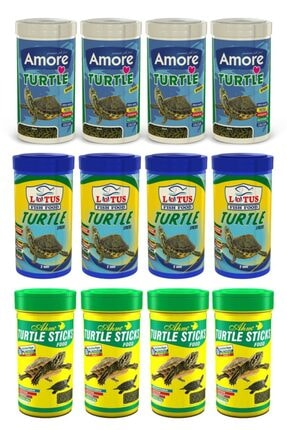 Ahm Turtle Sticks 4x250 Ml + Amore 4x250 Ml + Lotus 4x250 Ml Kamplumbağa Yemi