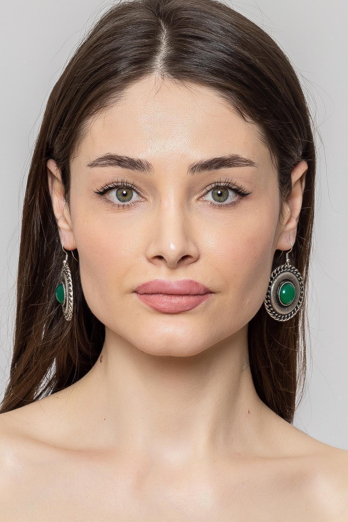 ZeyDor Accessories Kadın Yeşil Zeydor Taşlı Bohem Küpe 2