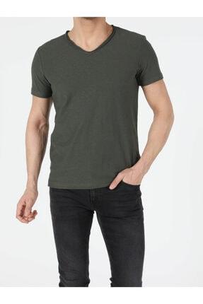 Colin's Regular Fit V Yaka Erkek Haki Kısa Kol Tişört