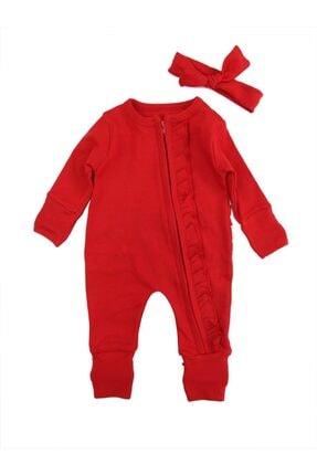Murat Baby Kız Bebek Kırmızı Fırfırlı Saç Bantlı Tulum Takımı