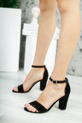MUGGO Siyah Süet Kadın Klasik Topuklu Ayakkabı DPRGZHWY710