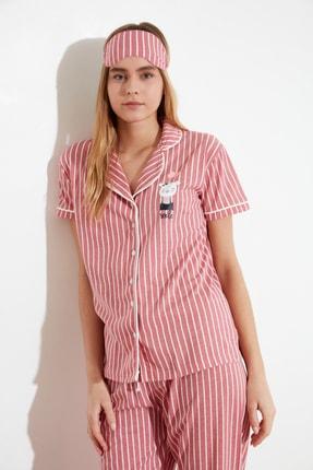 TRENDYOLMİLLA Pembe Baskılı Örme Pijama Takımı THMSS21PT0878