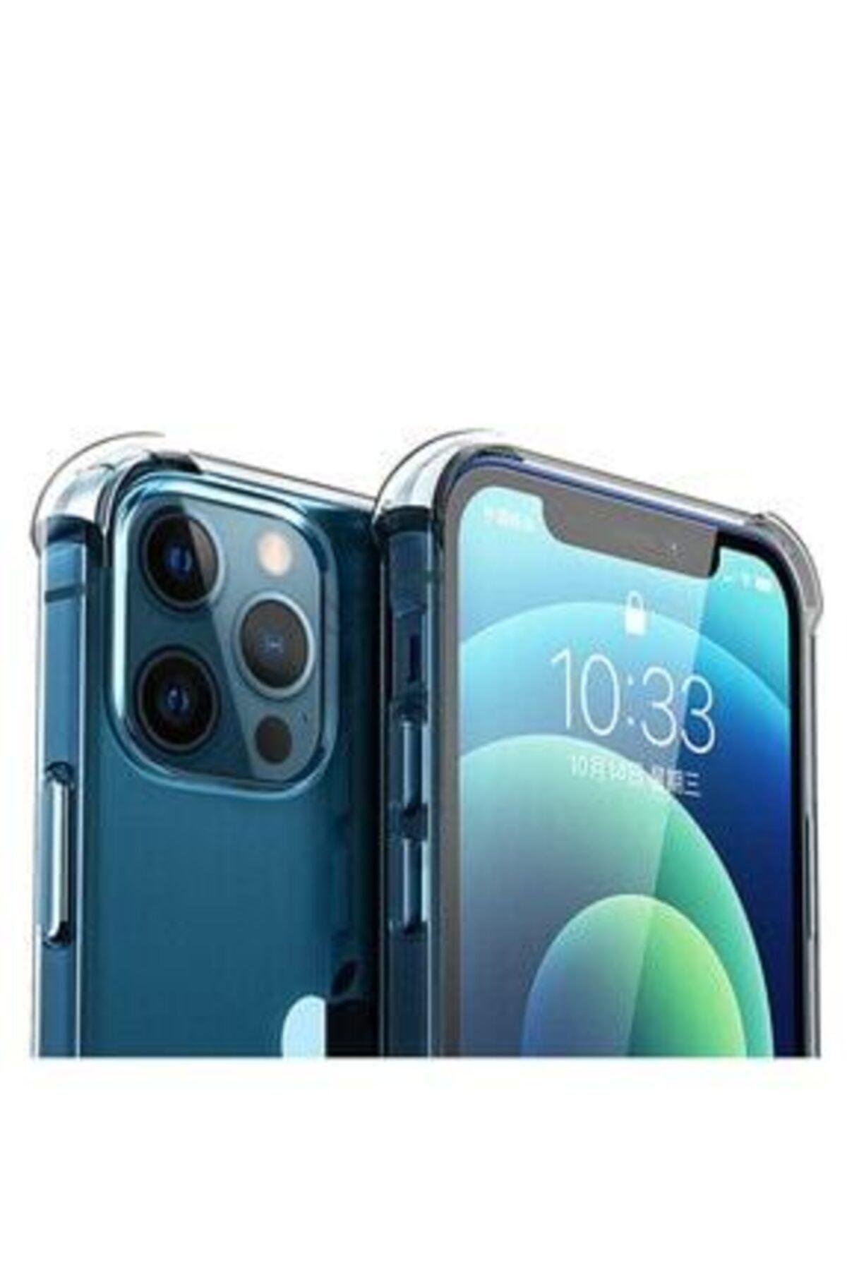 """LOOVİTECH Iphone 12 Pro Max 6.7"""" Kılıf Antishock Silikon Köşeli Şeffaf Airbag Arka Kapak 1"""