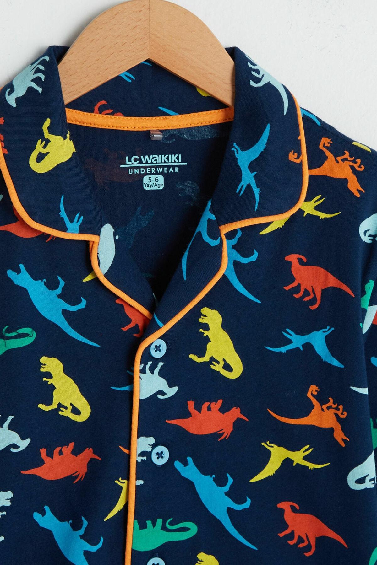 LC Waikiki Erkek Çocuk Lacivert Baskılı Lsj Pijama Takımı 2