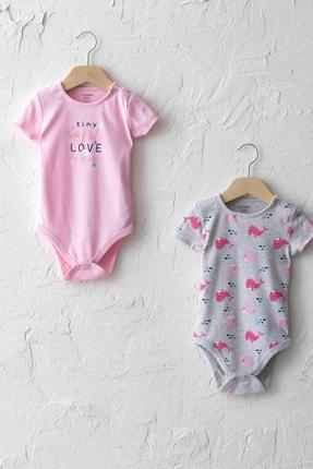 LC Waikiki Kız Bebek Açık Gri Baskılı Lrv Bebek Body & Zıbın