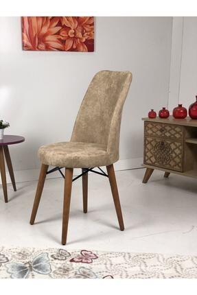 ERVA Ceviz Ağaç Ayaklı Gold Sandalye