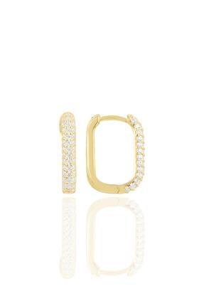 Söğütlü Silver Gümüş Altın Yaldızlı Zirkon Taşlı Trend Küpe.