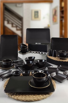 Keramika Siera 35 Parça 6 Kişilik Kahvaltı Takımı Siyah