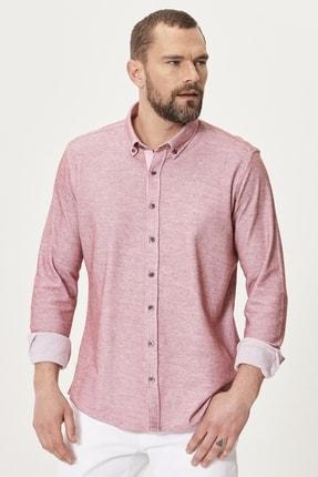 AC&Co / Altınyıldız Classics Erkek Bordo Tailored Slim Fit Dar Kesim %100 Koton Düğmeli Yaka Gömlek