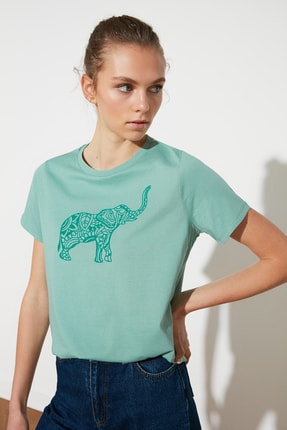 TRENDYOLMİLLA Mint Baskılı Basic Örme T-Shirt TWOSS21TS1559