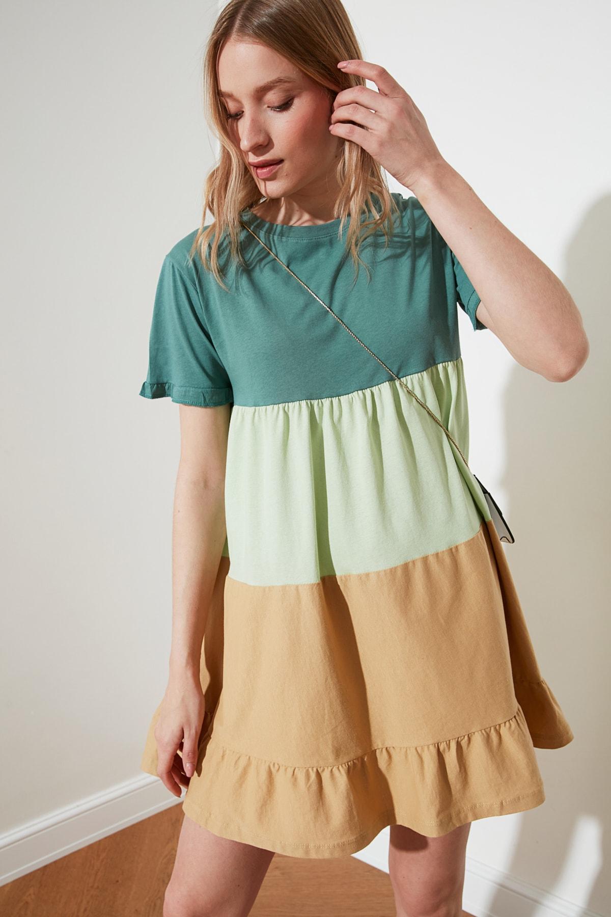 TRENDYOLMİLLA Yeşil Büzgü Detaylı Elbise TWOSS20EL1638 2