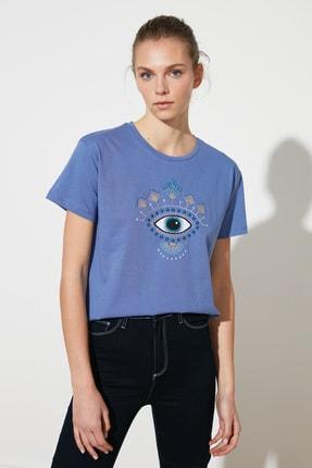 TRENDYOLMİLLA Mor Semi-Fitted Örme T-Shirt TWOSS20TS0309