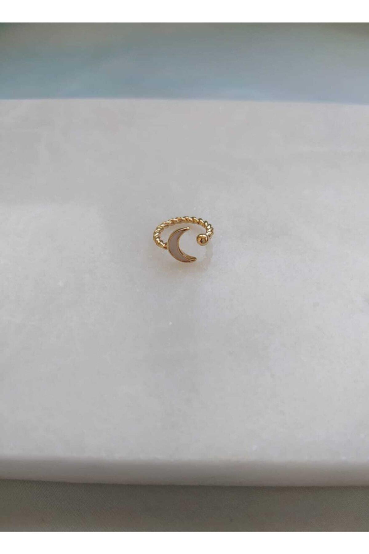 NORRSKEN Kadın Gold Moon Ear Cuff Küpe 1