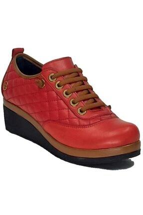 Mammamia Kadın Kırmızı Hakiki Deri Dolgu Topuk Lastikli Ayakkabı