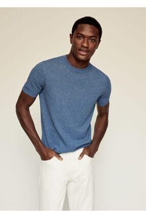MANGO Man Erkek Mavi Keten-pamuk Karışımlı Tişört