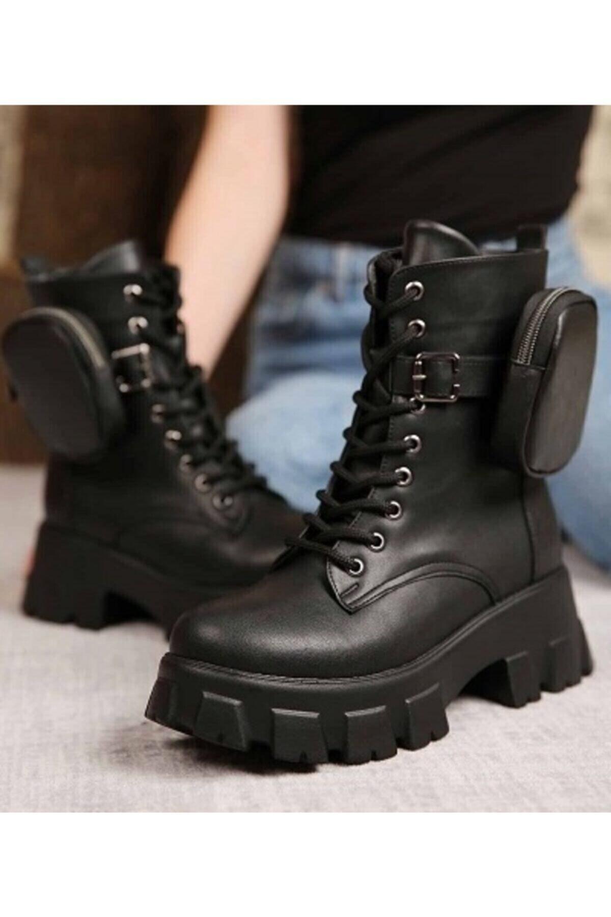 Öncerler Ayakkabı Kadın Siyah Cüzdanlı Bot 2