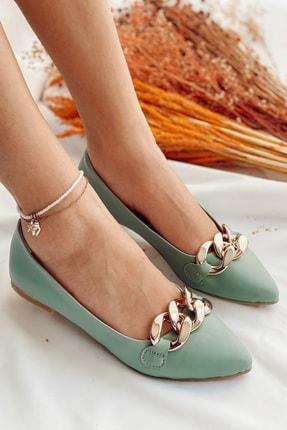 Nil Shoes Kadın Mint Yeşili Cilt Belle Zincir Detaylı Babet