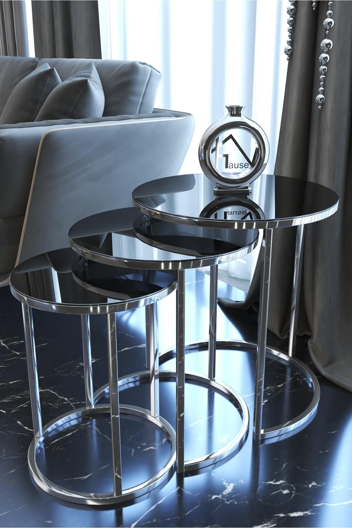 HAUSEV Aynalı Gümüş Metal Zigon Sehpa 1