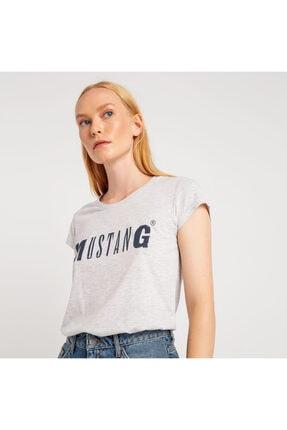 Mustang Kadın Basic Baskılı T-shirt Gri Melanj