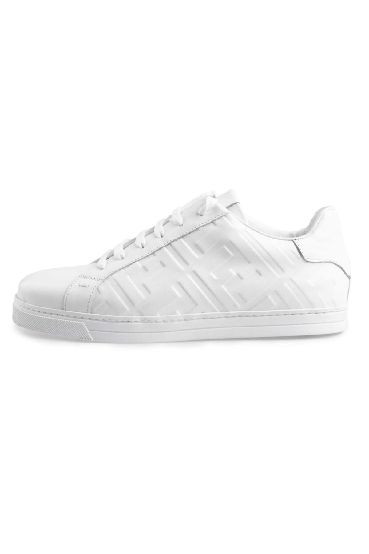 Flower Erkek Beyaz Deri Baskılı  Sneakers 1