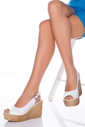 derithy Lewis Dolgu Topuklu Ayakkabı-beyaz-lzt0535