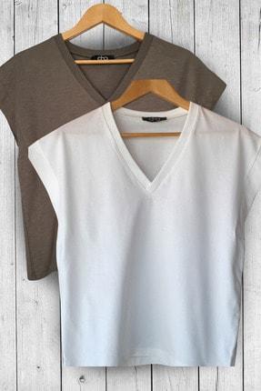 Dna Boutique V Yaka Basic Tshirt 2 Li Paket