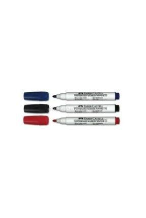 Faber Castell Doldurulabilir Beyaz Tahta Kalemi 3 Renk Siyah Kırmızı Mavi