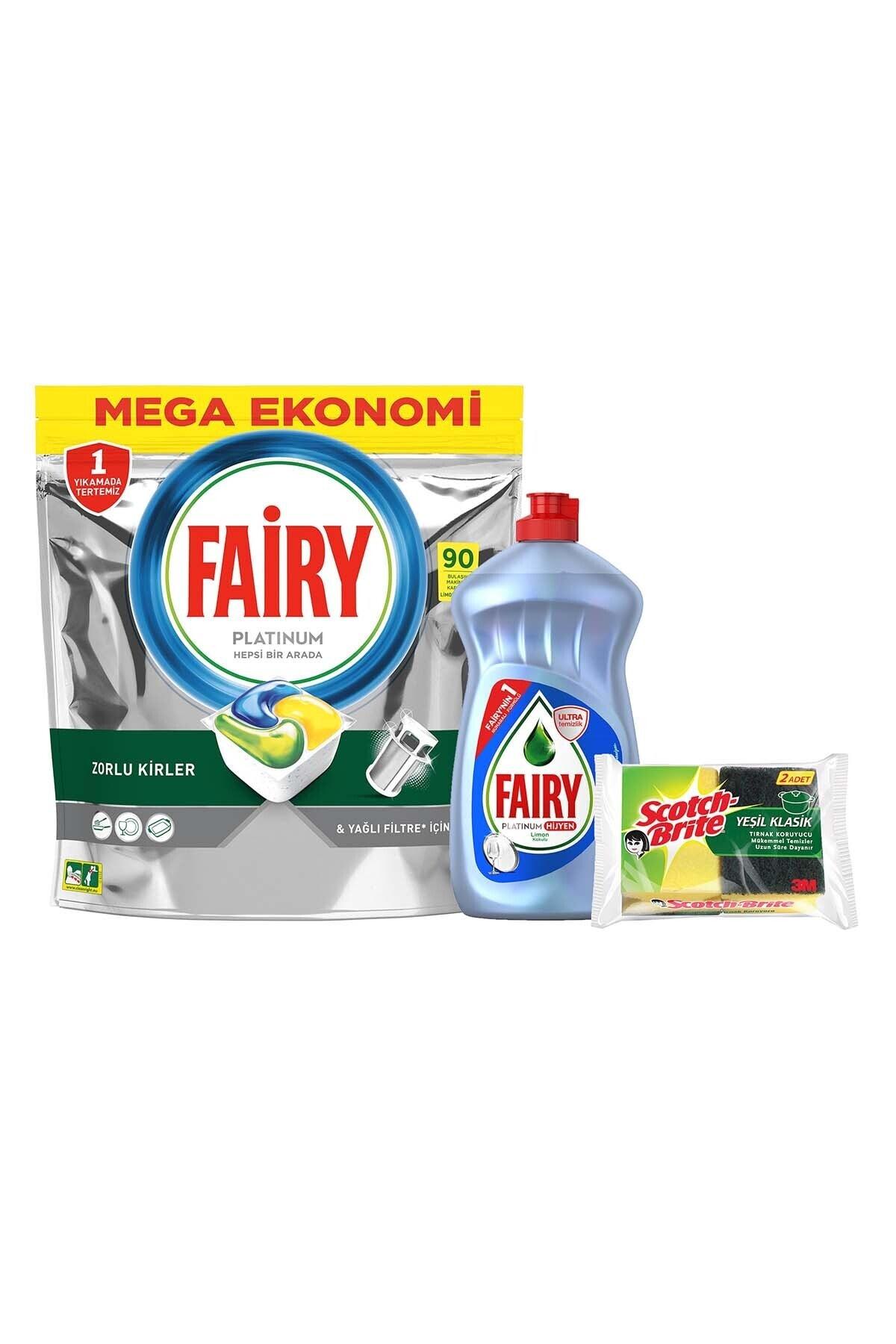 Fairy Platinum 90 Yıkama Bulaşık Deterjanı Kapsülü Limon + Platinum Hijyen 500 ml + 2'li Sünger Hediye 2