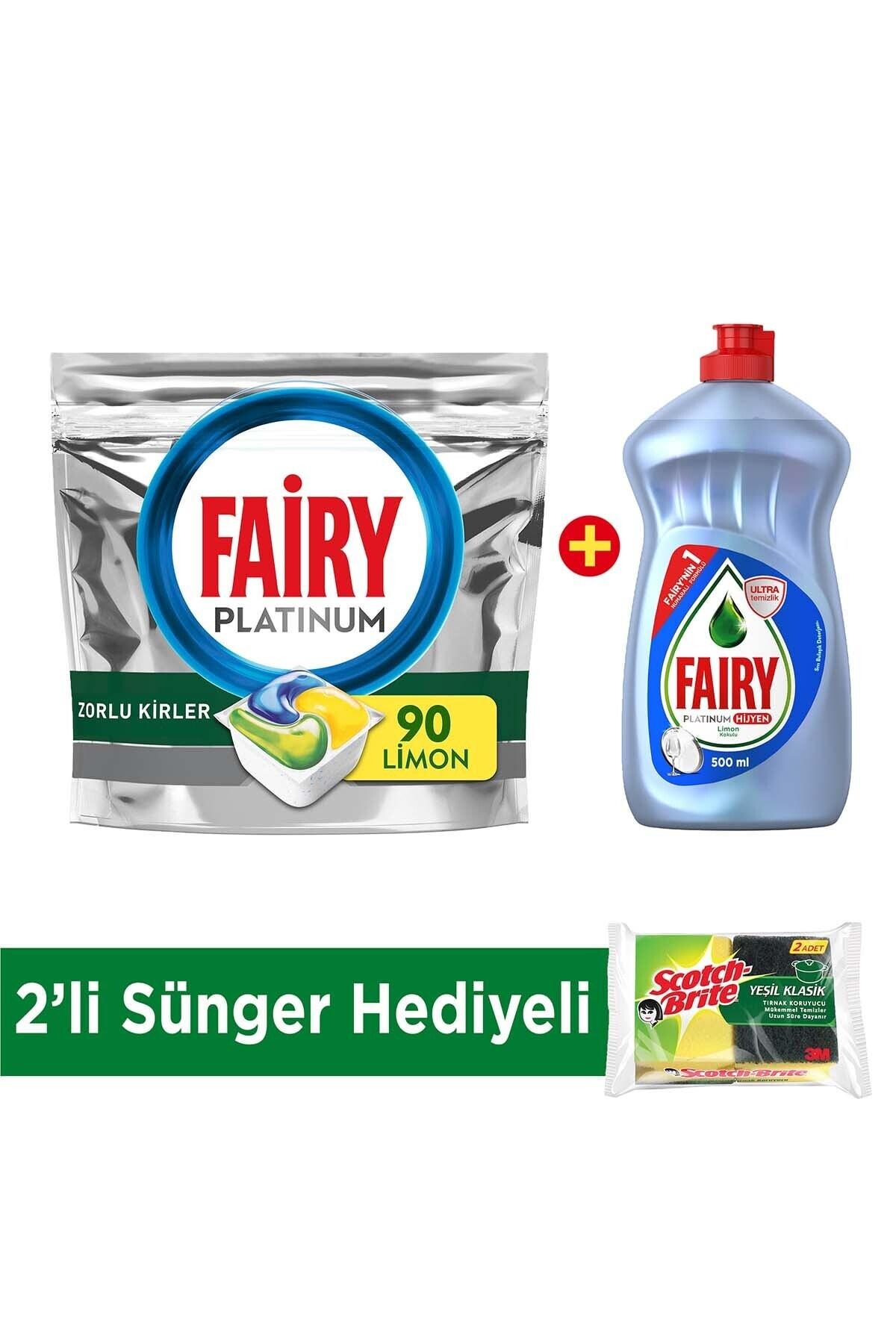 Fairy Platinum 90 Yıkama Bulaşık Deterjanı Kapsülü Limon + Platinum Hijyen 500 ml + 2'li Sünger Hediye 1