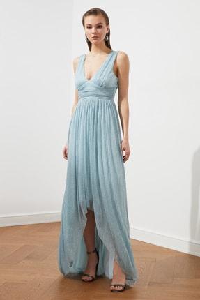 TRENDYOLMİLLA Açık Mavi Bel Detaylı  Abiye & Mezuniyet Elbisesi TPRSS20AE0081