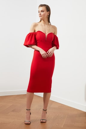 TRENDYOLMİLLA Kırmızı Puf Kollu Elbise TPRSS20EL1436