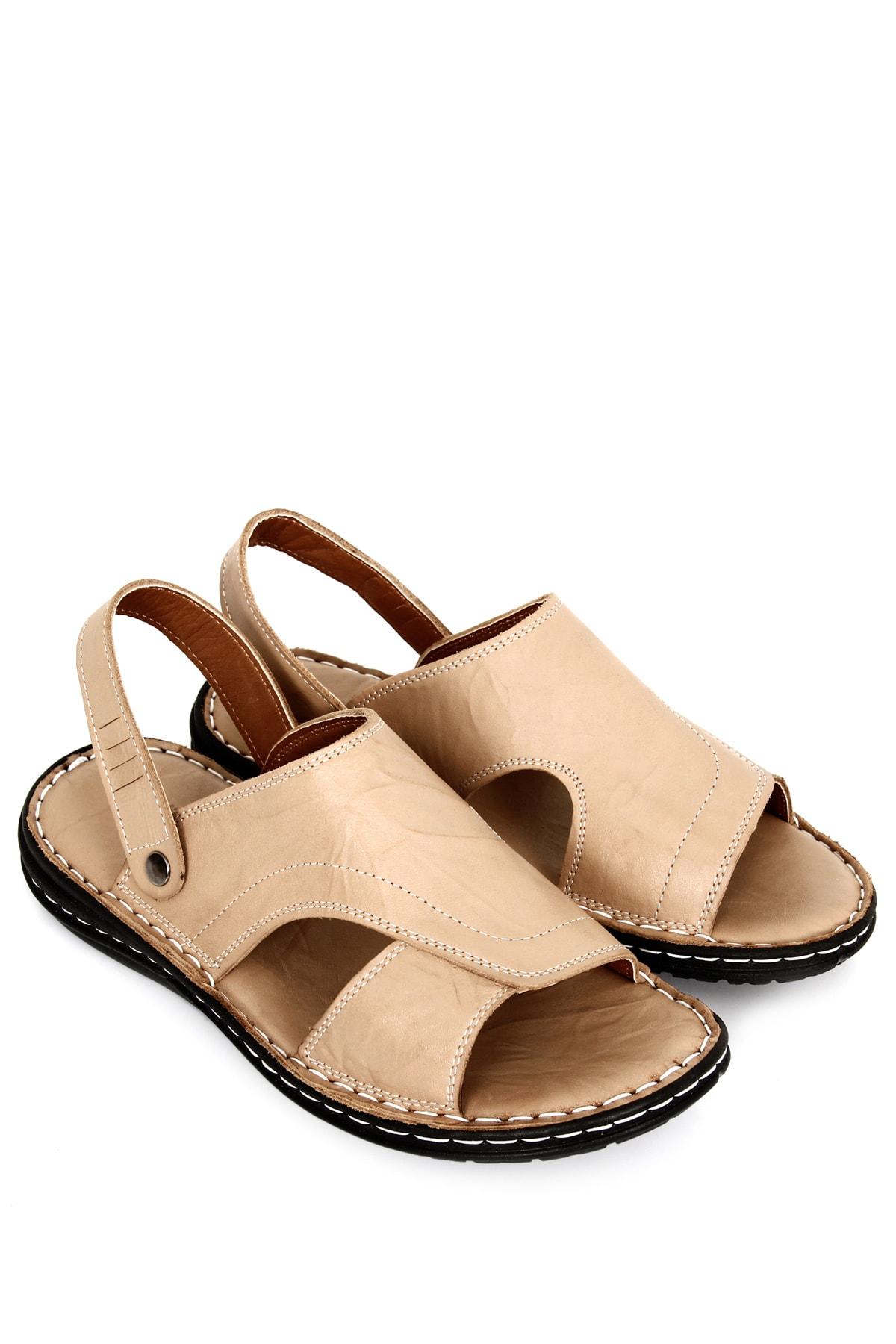 GÖNDERİ(R) Hakiki Deri Bej Antik Erkek Sandalet 20607