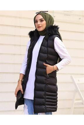 Eyyo Kadın Siyah Şapkası Kürk Detaylı Şişme Yelek Eyo34578