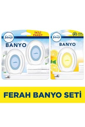 Febreze Hava Ferahlatıcı Banyo Oda Kokusu 2'li Fırsat Paketi Temiz Çarşaf Ferahlığı + Limon Kokusu