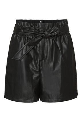 Vero Moda Kadın Siyah Paperbag Deri Şort 10243632 Vmsolarıe