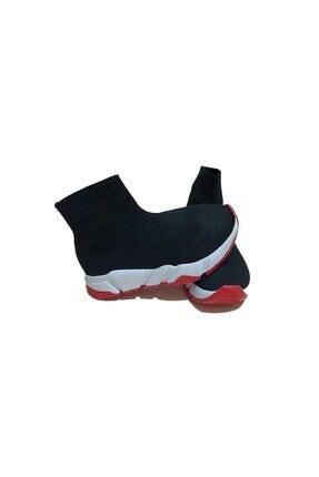 MİRKET Çocuk Unisex Siyah Kırmızı Triko Streç Çorap Spor Ayakkabı Snekaer