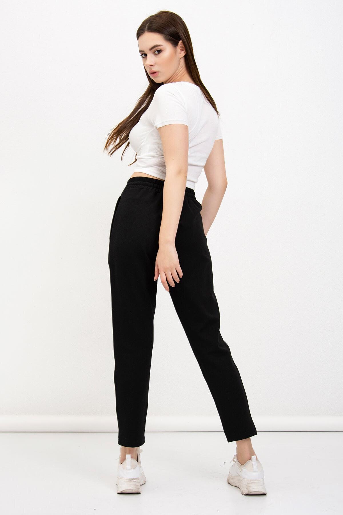 Mossta Kadın Siyah Cepli Çelik Pantolon 1