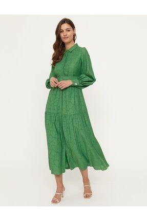 Kayra Dökümlü Elbise Yeşil B21 23133