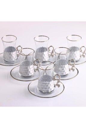 Paşabahçe Heybeli Petek Gümüş Kulplu Çay Takımı