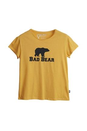 Bad Bear Kadın Hardal Tişört Logo Tee