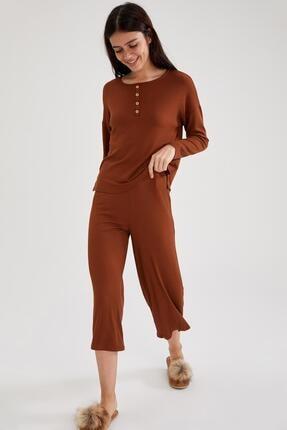 DeFacto Kadın Relax Fit Uzun Kol Pijama Takımı