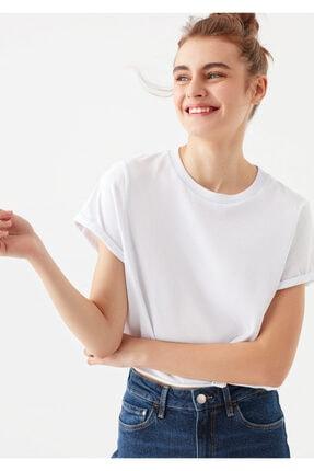Mavi Beyaz Crop Tişört
