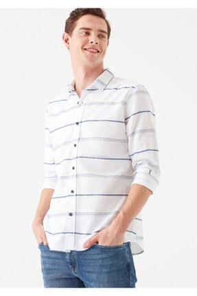 Mavi Çizgili Beyaz Gömlek