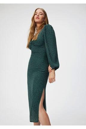 Mavi Yırtmaç Detaylı Yeşil Uzun Elbise