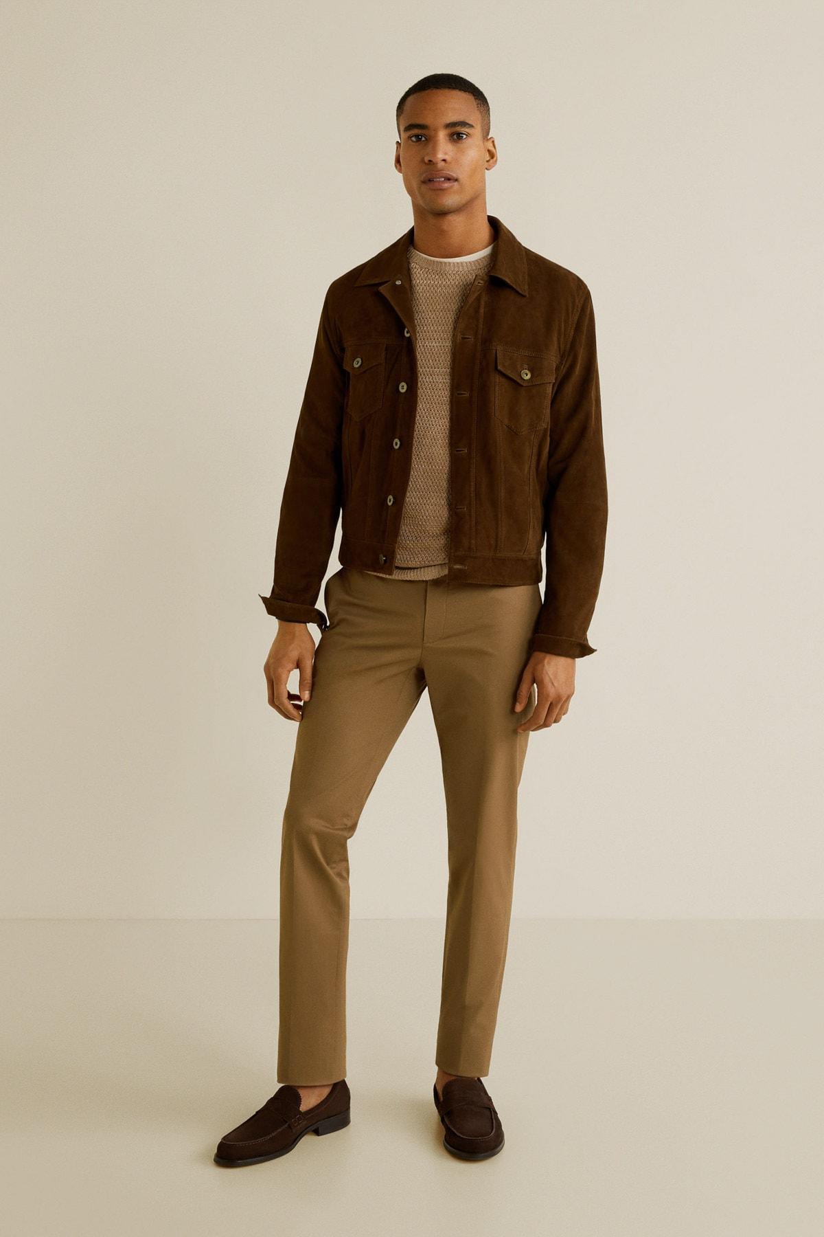 MANGO Man Erkek Kahverengi Pantolon 43065724 1