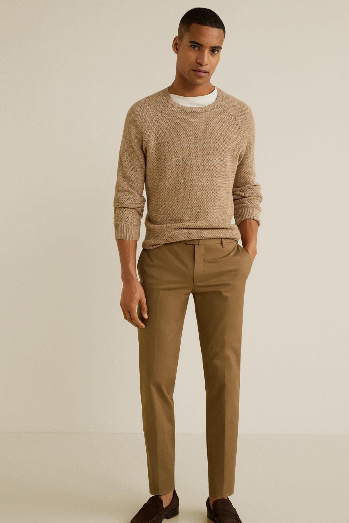 MANGO Man Erkek Kahverengi Pantolon 43065724 2