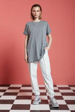 Mizalle Kadın Gri Basic Uzun T-shirt