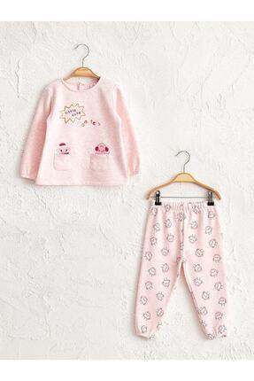LC Waikiki Kız Bebek Pembe Melanj E6R Pijama Takımı